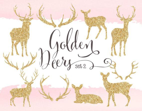 Glitter cliparts gold silhouettes. Deer clipart golden deer
