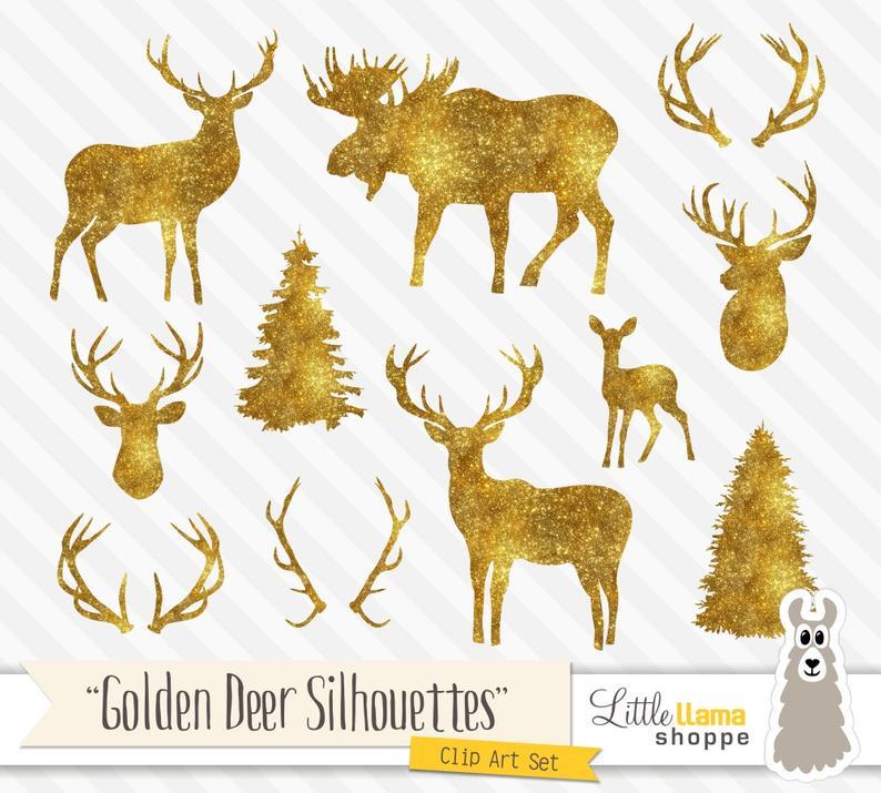Deer clipart golden deer. Gold silhouette glitter antlers