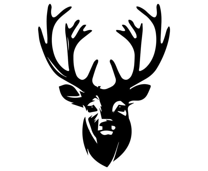 Deer head silhouette svg. Hunting clipart christmas