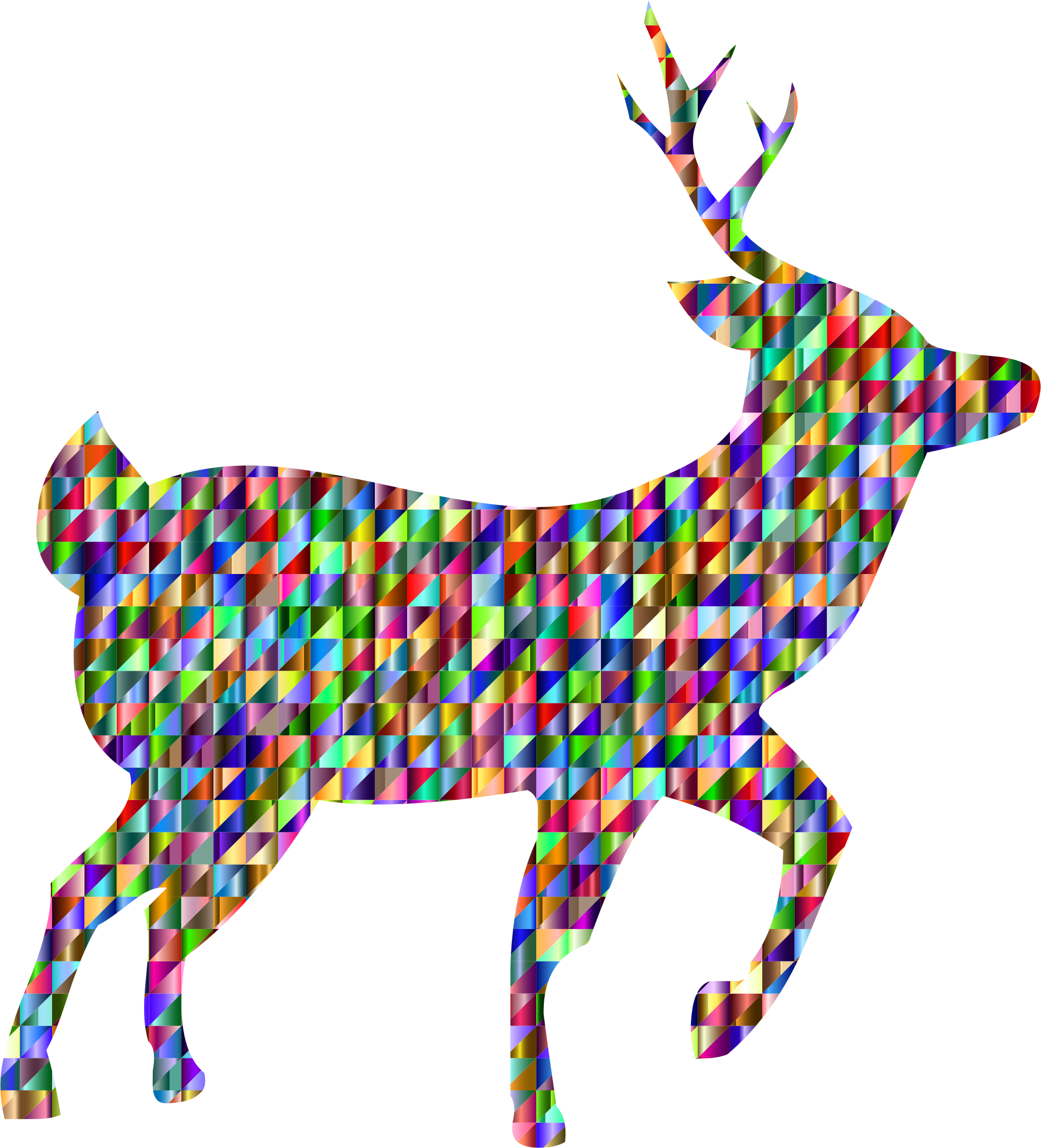Chromatic triangular big image. Deer clipart love