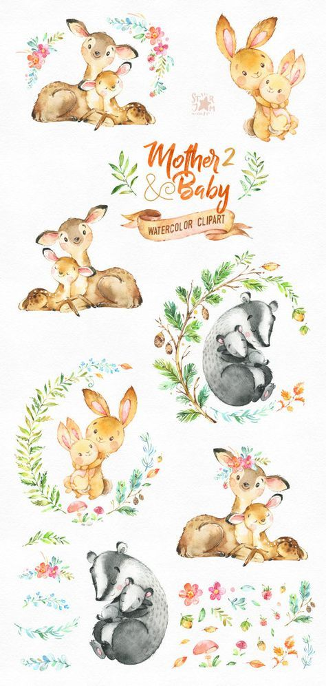 Deer clipart mother's day. Mother baby watercolor animals