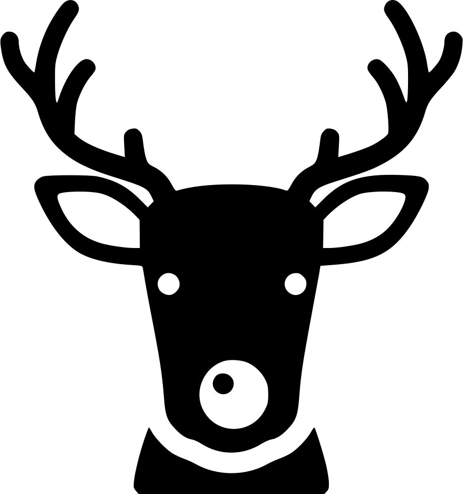 Deer clipart nose. Santa reindeer red svg