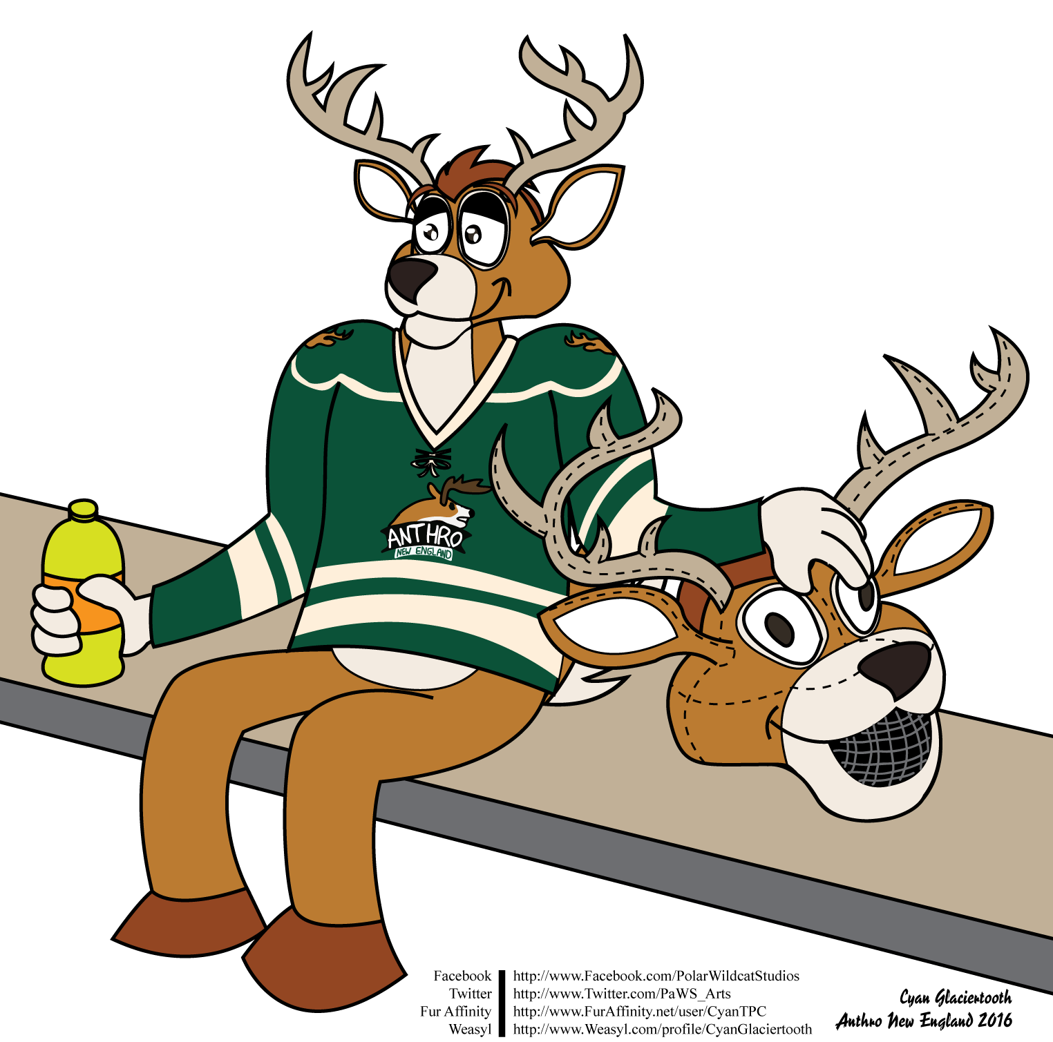 Anthro new england conbook. Deer clipart profile