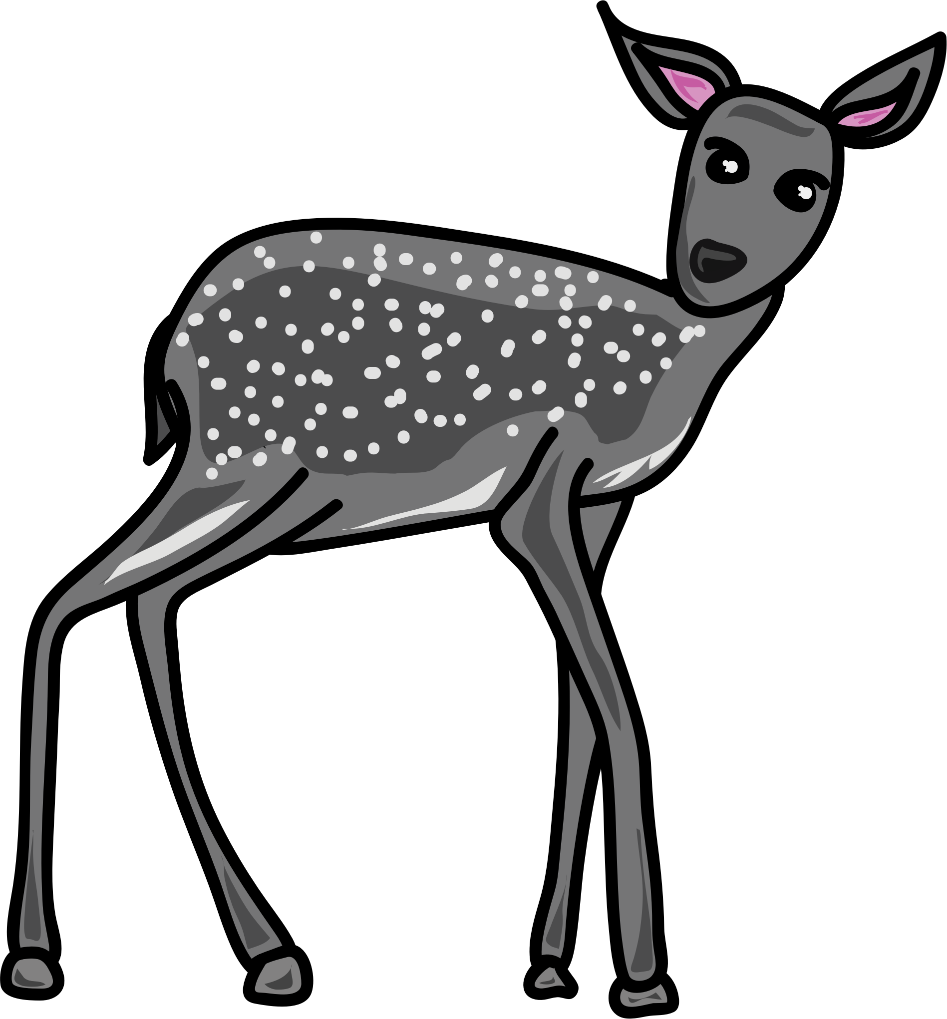 Deer clipart roe deer. Grey big image png