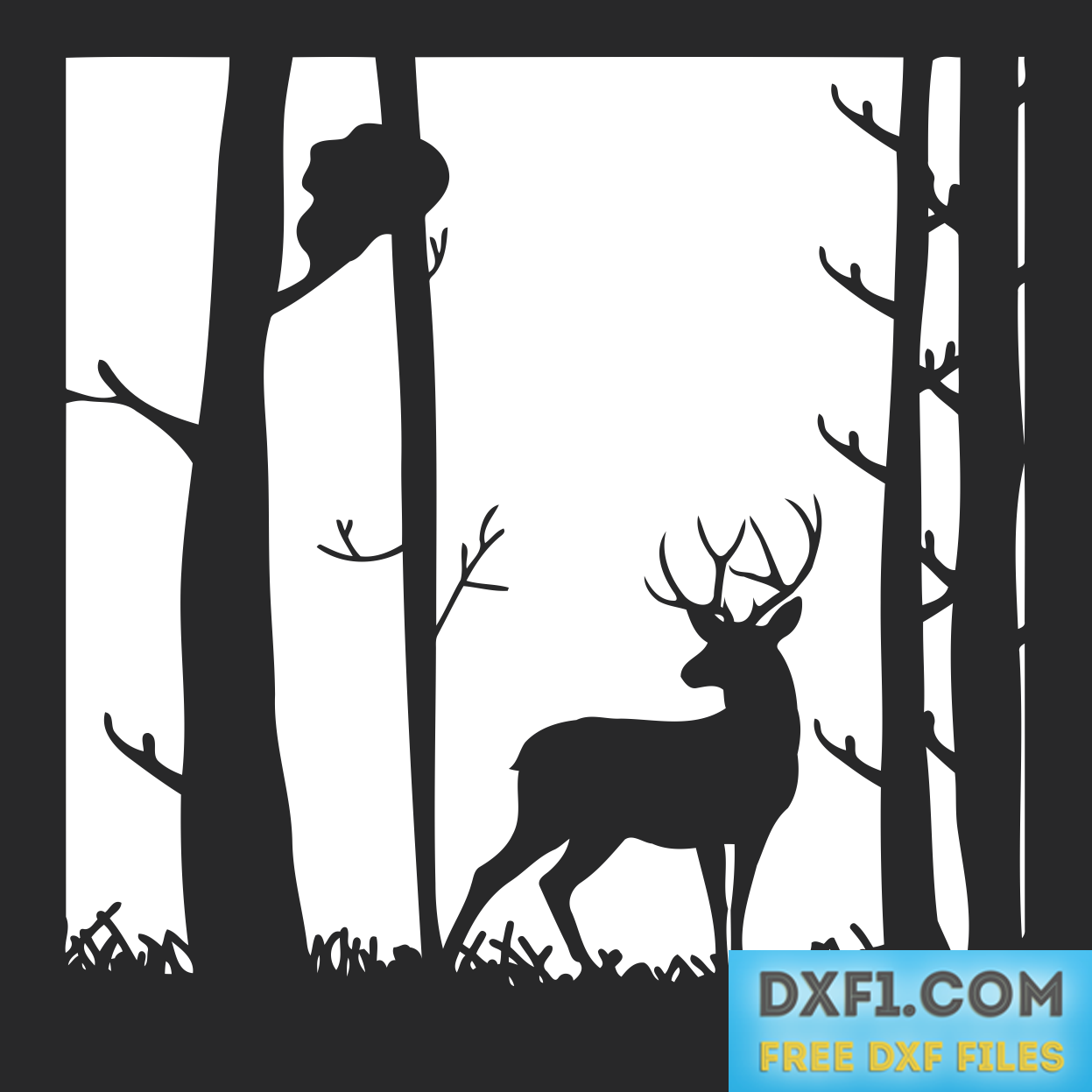 In the forest landscape. Hunting clipart deer tree