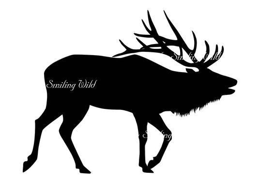Svg silhouette cutout file. Deer clipart wapiti