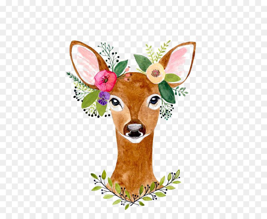 Flowers background painting . Deer clipart watercolor