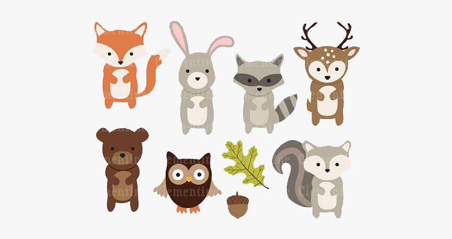 Woodland clipart simple. Paper animal clip art