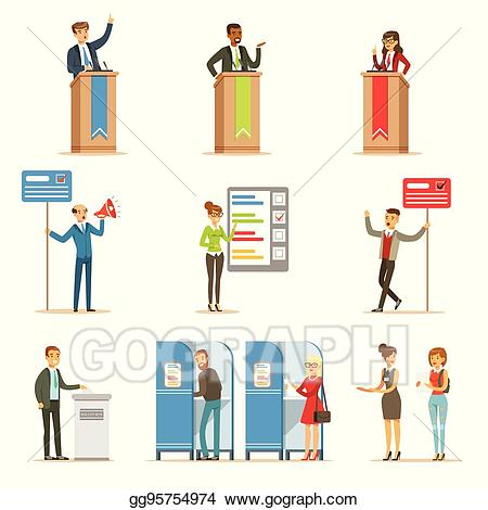 Vector illustration political candidates. Voting clipart election candidate
