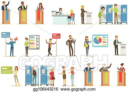 Vector illustration candidates and. Democracy clipart political campaign