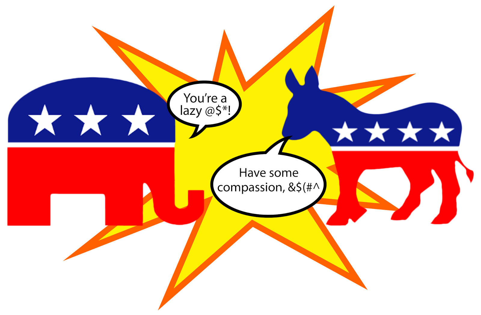 Democracy clipart republican elephant. Fighting and donkey rational