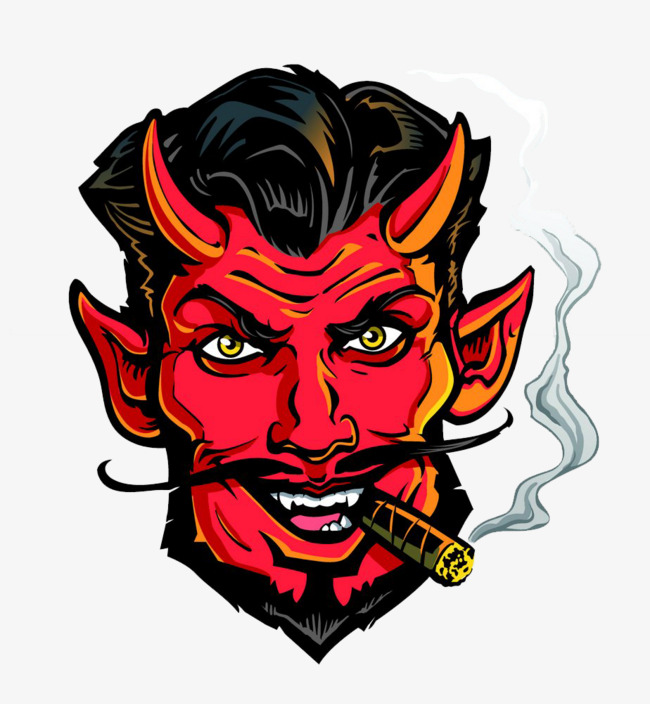 Cartoon devil avatar head. Demon clipart