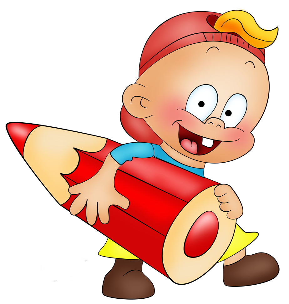 Little boy with pencil. Thumb clipart side