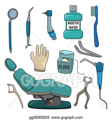 Dentist clipart equipment. Vector illustration cartoon tool