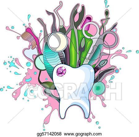 Vector art dental instruments. Dentist clipart instrument