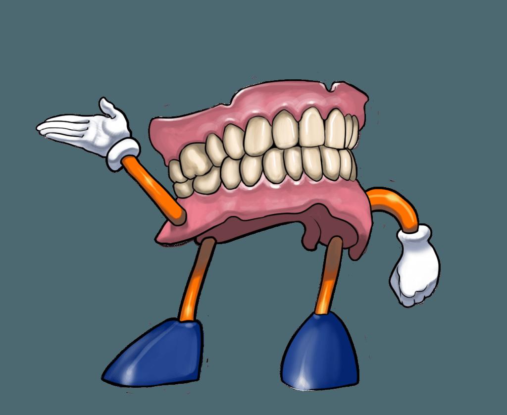 Denture mot at smiles. Dentist clipart dental lab