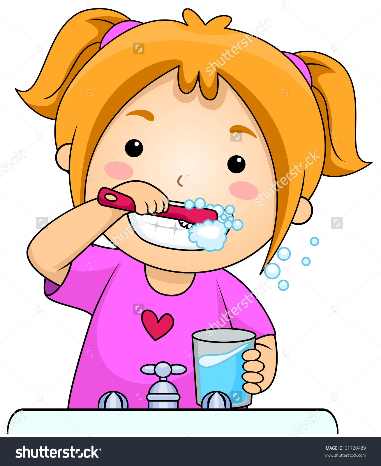 brush teeth clip. Dentist clipart brushed tooth