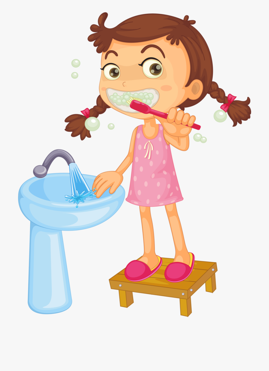 Dentist clipart brushed tooth. Brush teeth free girl