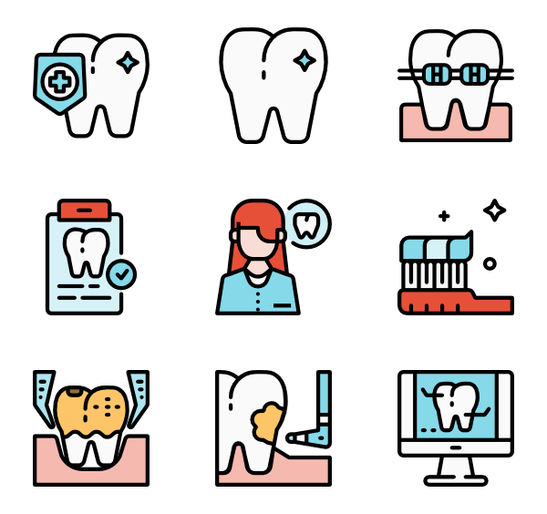 Icons free vector dentistry. Dentist clipart dental caries