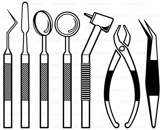 Toothbrush pencil and in. Dentist clipart dental instrument