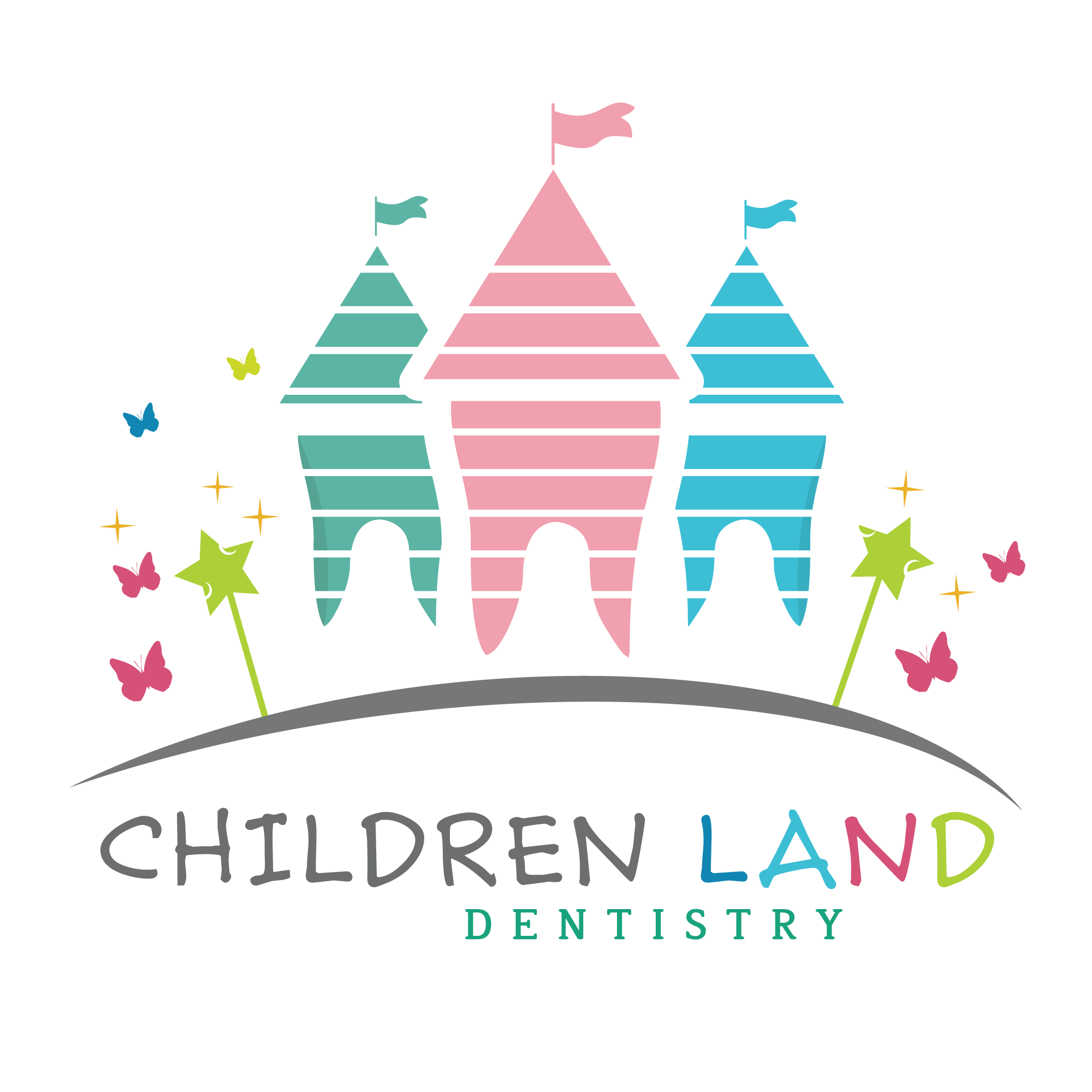 Children land dentistry logo. Light clipart dentist