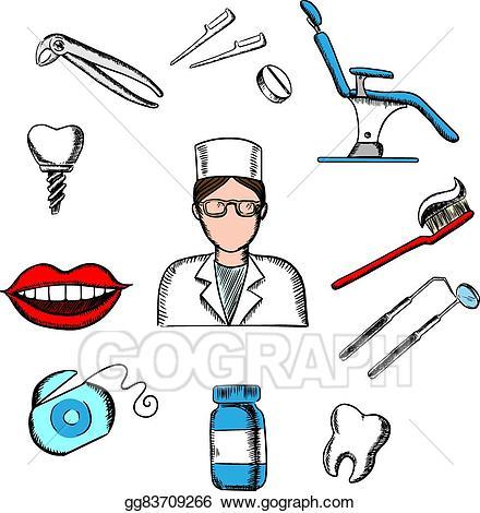 Dentist clipart equipment. Eps illustration dentistry medicine
