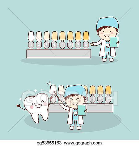 Vector illustration cartoon tooth. Dentist clipart happy