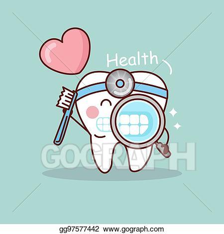 Dentist clipart happy. Vector illustration cartoon tooth