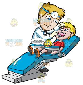 A young boy at. Dentist clipart happy