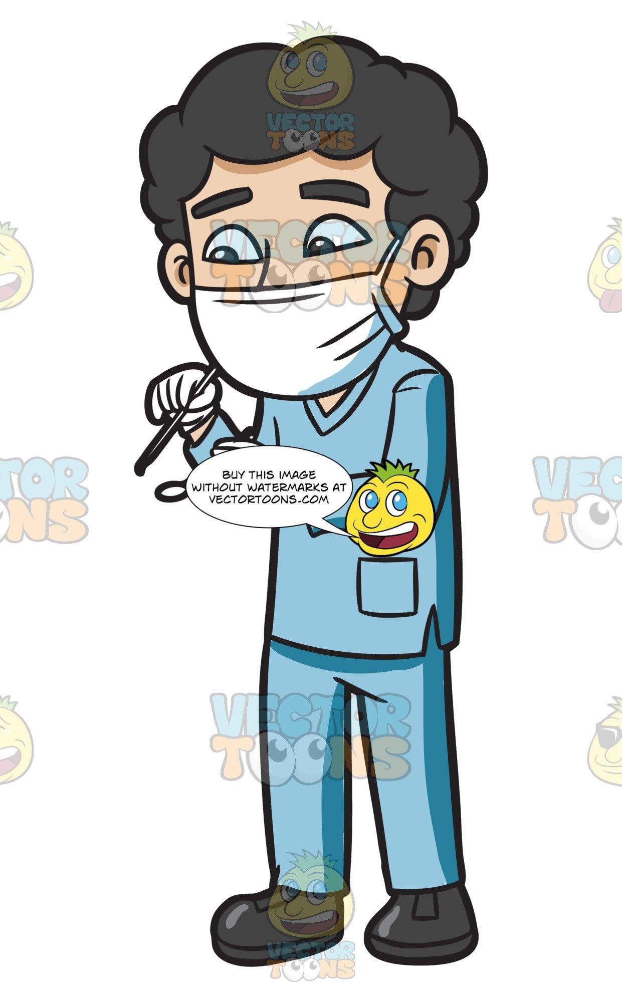 A dental hygienist during. Dentist clipart male dentist