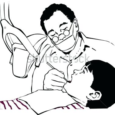 Black and white free. Dentist clipart outline