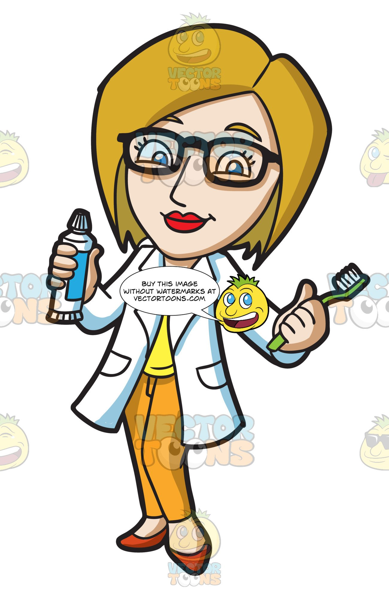 A lady showing the. Dentist clipart person
