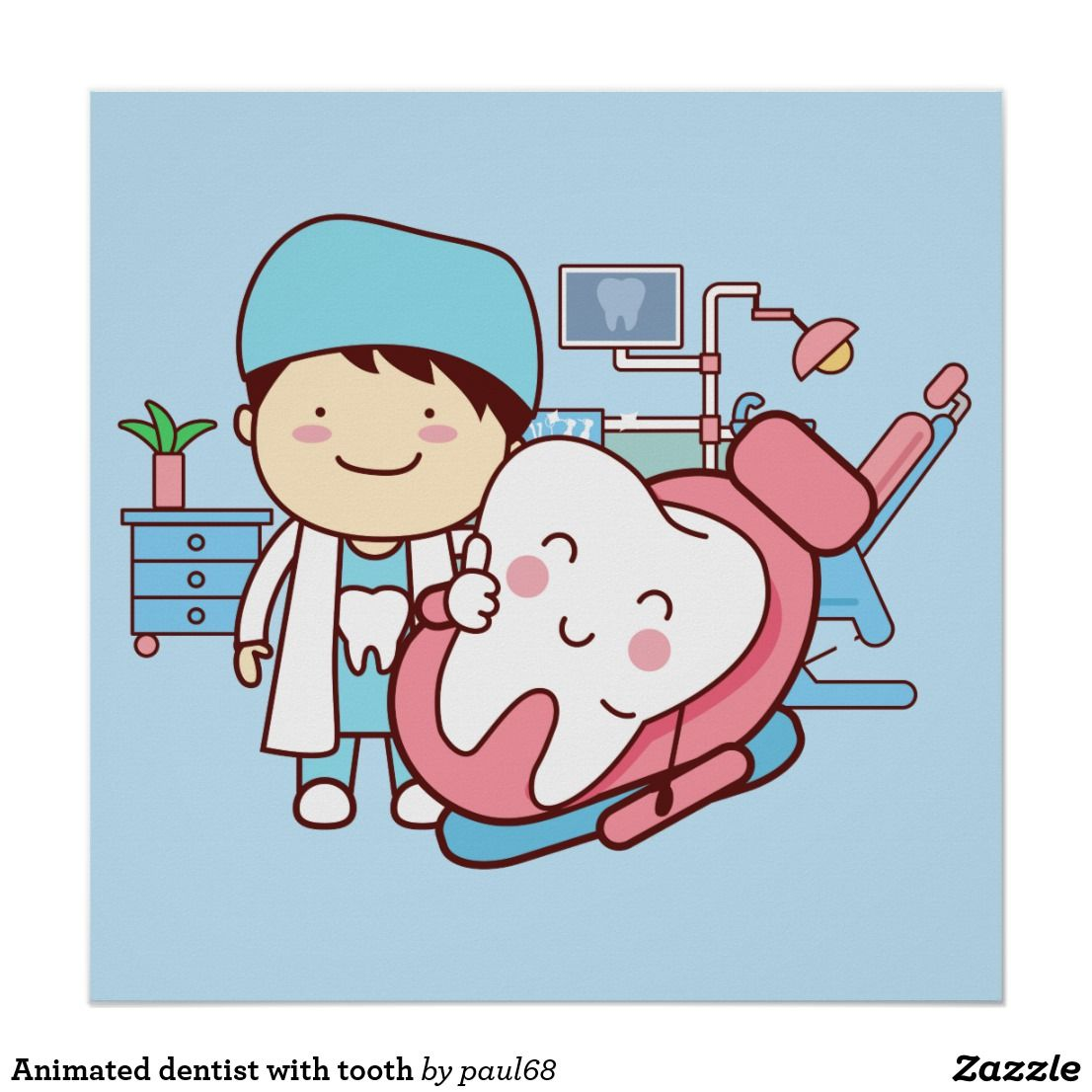Animated with tooth poster. Dentist clipart tourism florida