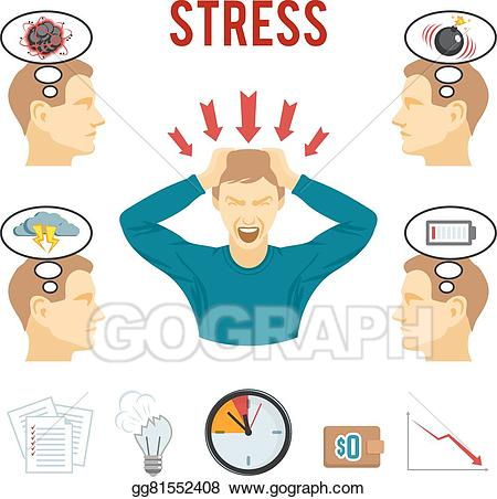 Stress clipart mental stress. Vector illustration disorder and