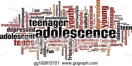 Depression clipart adolescence. Vector illustration word cloud