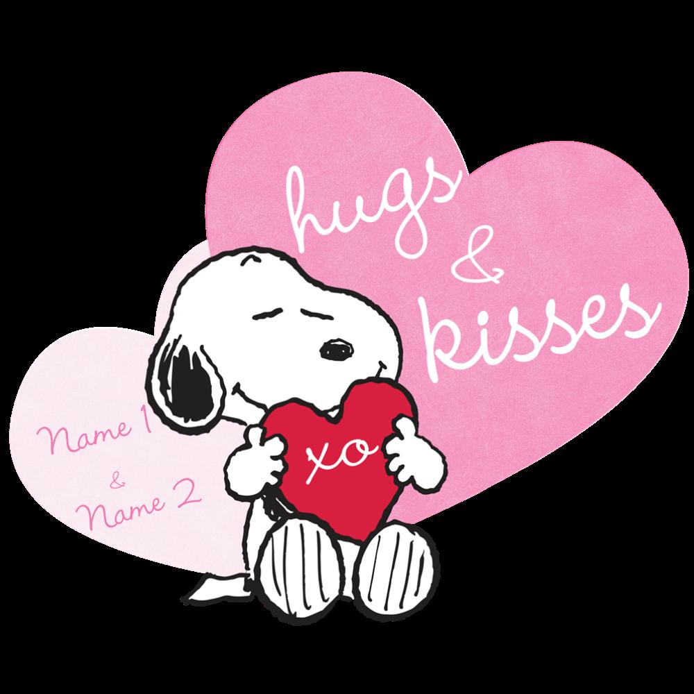 Snoopy hugs and kisses. Peanuts clipart bag