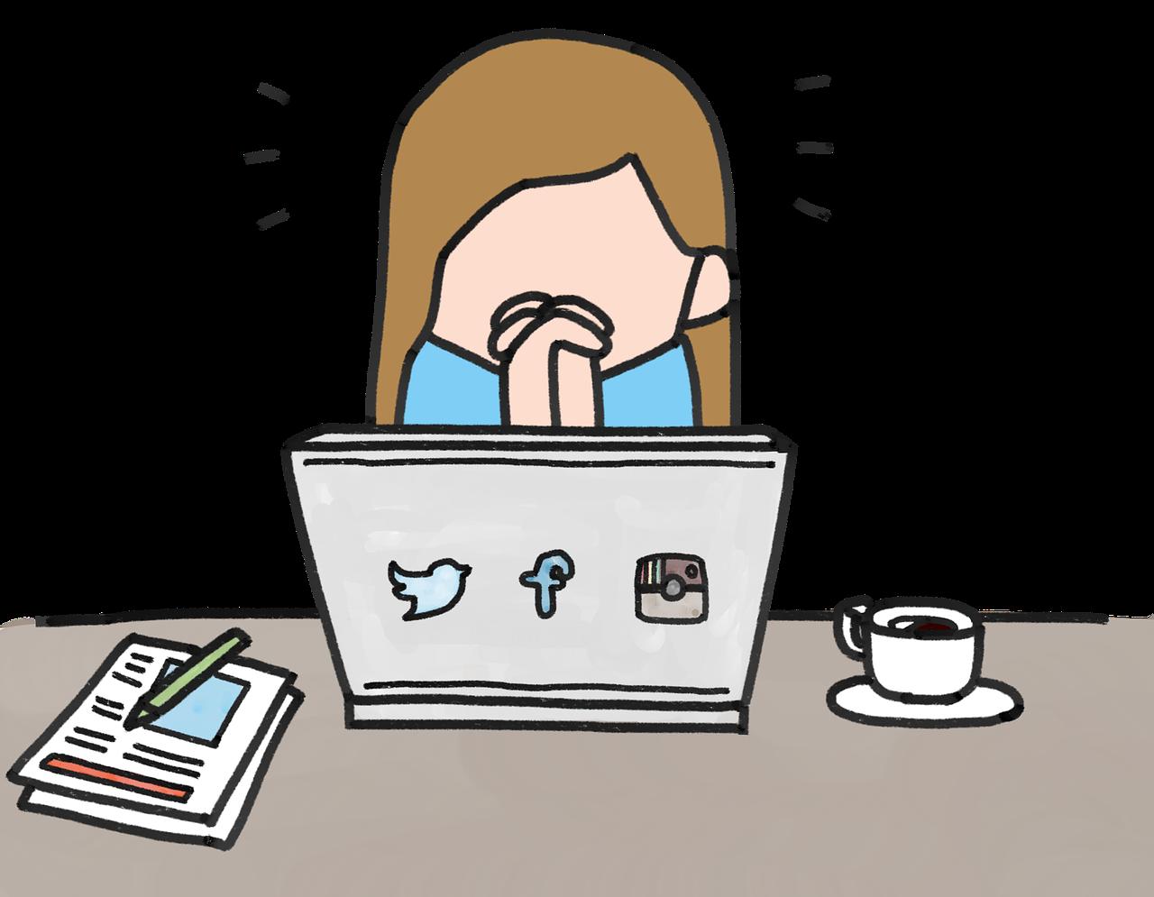 Worry clipart sensitive person. Social media exhaustion artefact