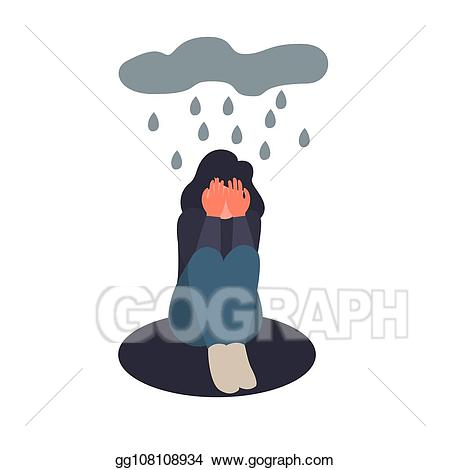 Depression clipart female depression. Eps vector woman sit