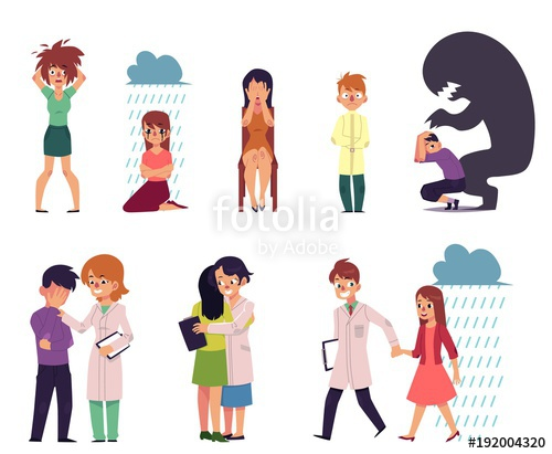 Vector flat mental illness. Depression clipart female depression