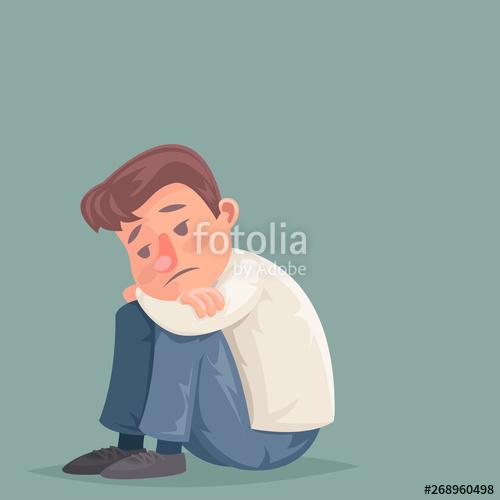 Depressed businessman suffer emotion. Depression clipart melancholy