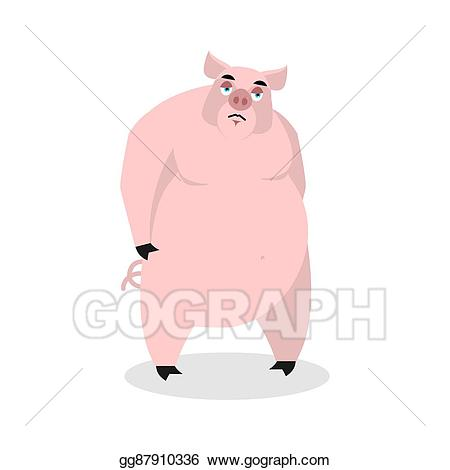 Depression clipart melancholy. Vector illustration sad pig