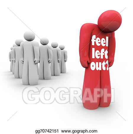 Stock illustration feel left. Depression clipart sad group person