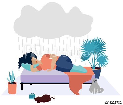 Depression clipart sad woman. Unhappy girl young concept