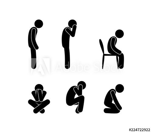 Sad people stand and. Depression clipart sorrowful