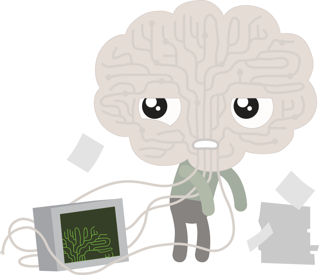 Demo and the brain. Stress clipart stress word