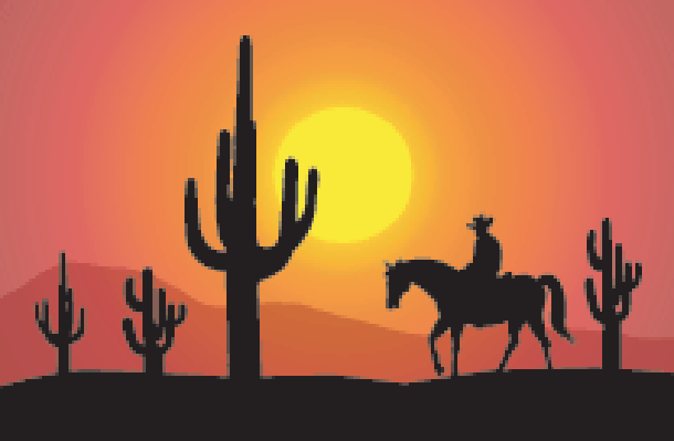 Desert clipart. Sunset at saguaro vector