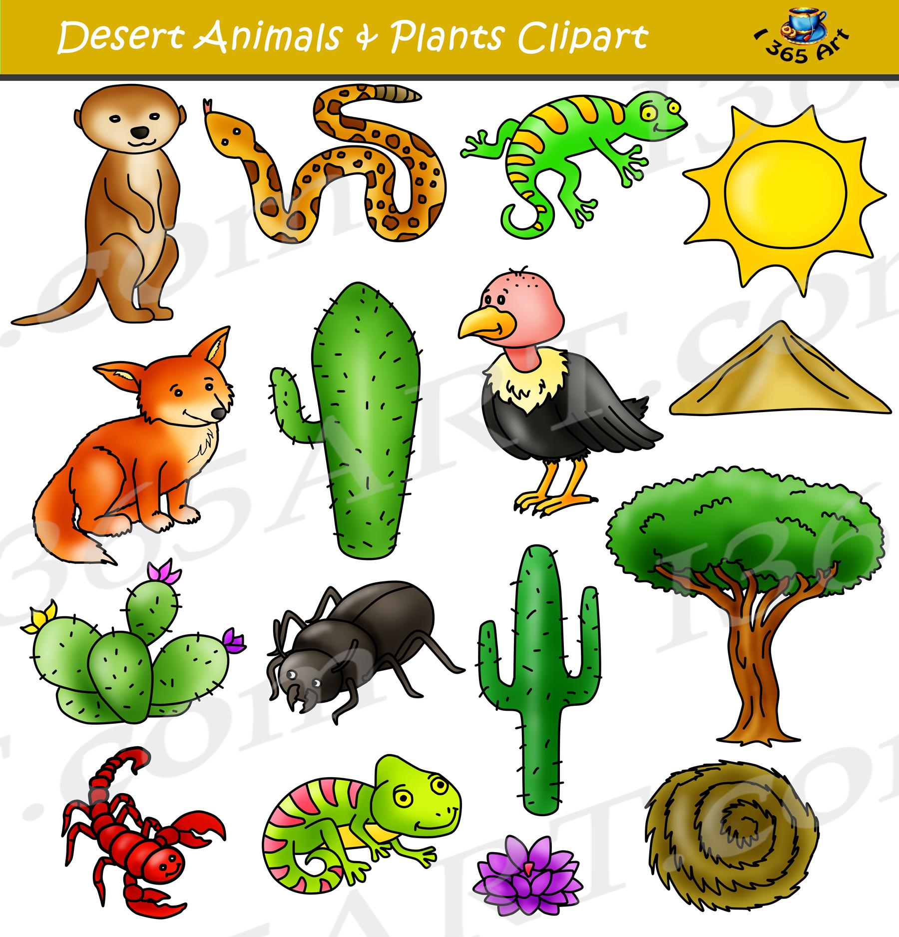 Desert clipart. Animals and terrain clip