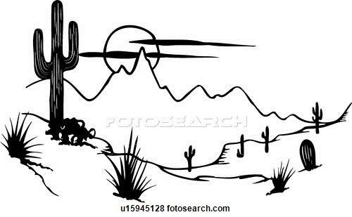Desert clipart black and white. Cactus illustrated panels mesa