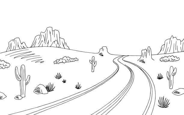 Station . Desert clipart black and white