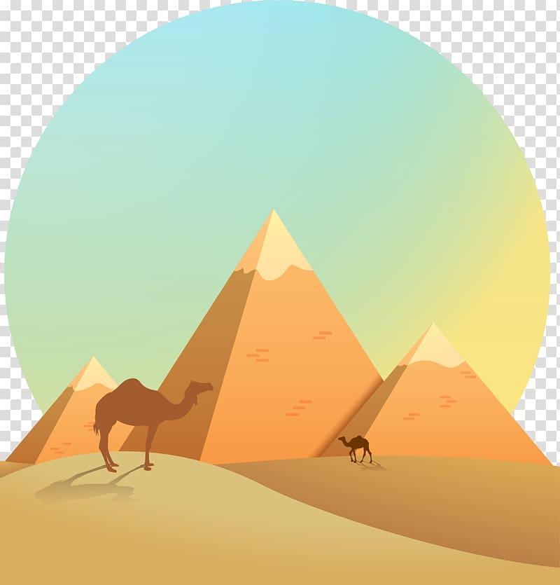 Pyramid and illustration pyramids. Desert clipart camel egyptian